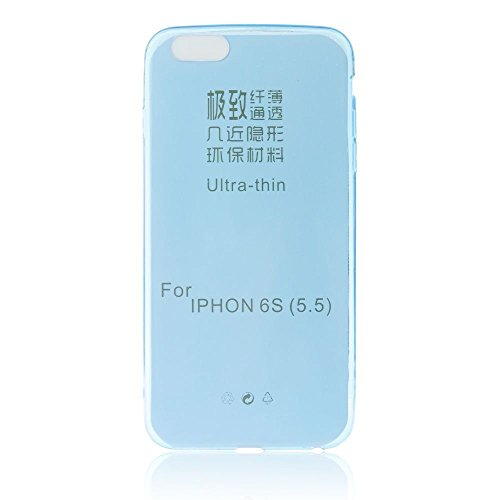 handy-point Ultra Dünn 0,3 mm Gummihülle Gummi Silikonhülle Silikon Schutzhülle Hülle für iPhone 6 Plus 6S Plus (5.5 Zoll) Durchsichtig Transparent Blau