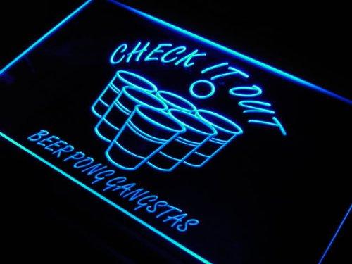 Pong Game Gangstas Beer Bar Neon Light Sign ()