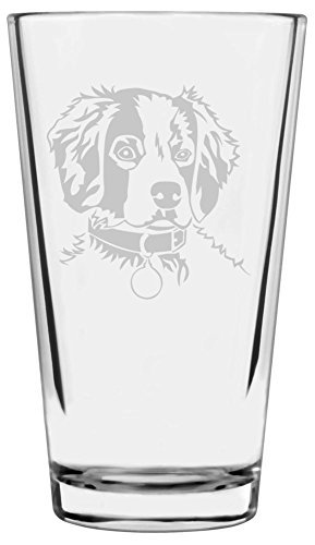 Brittany Spaniel Dog Themed Etched All Purpose 16oz Libbey Pint Glass