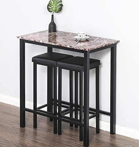 Homury 3-Piece Pub Dining Set Bar Table Set Breakfast Table,Black - Metal Room Bar Dining Stool