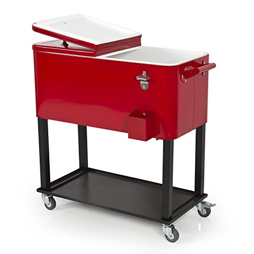 Solid Steel 80 quarts Fantastic Patio Deck Cooler Rolling Home Party Sports Party In Red Color