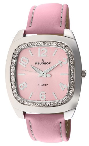 Peugeot Women's 310PK Silver-Tone Swarovski Crystal Accented Pink Leather Strap Watch