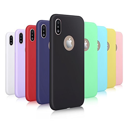 Pofesun Case for iPhone Xs/iPhone X, 9 Pack Slim Fit Liquid Rubber & Silicone Protective Shockproof Cover Compatible with iPhone Xs(2018) /iPhone X/iPhone 10 (2017) 5.8 inch- 9 Colors