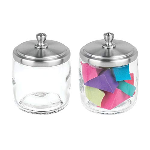 mDesign Bathroom Vanity Glass Storage Organizer Canister Apothecary Jar for Cotton Swabs, Rounds, Balls, Makeup Sponges, Blenders, Bath Salts - 2 Pack, Clear/Brushed ()