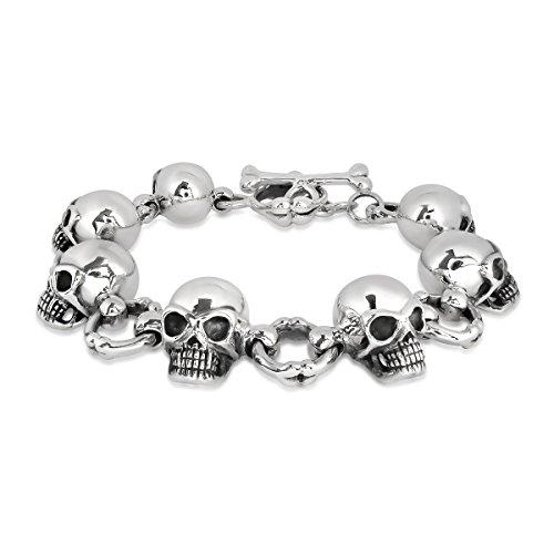 WithLoveSilver 925 Sterling Silver Biker Gothic Skull Head Bone Bracelet, 8 Inches ()