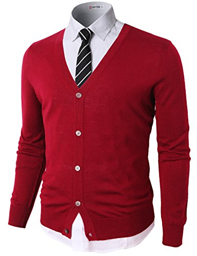 H2H Mens Casual Slim Fit Knitted Basic Designed VNeck Long Sleeve Cardigan RED US L/Asia XL CMOCAL09