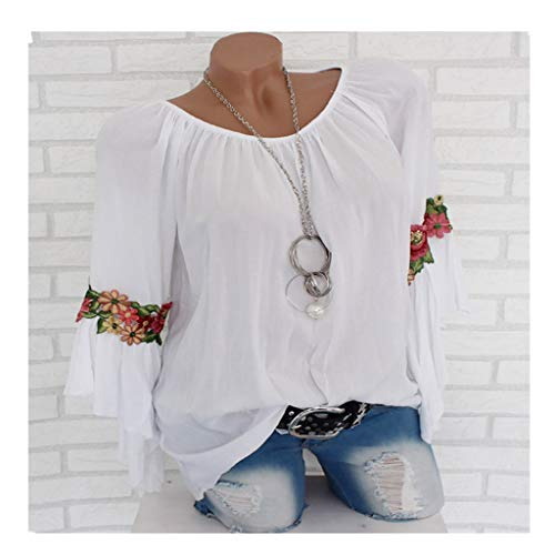 Blouse For Women-Clearance Sale, Farjing Plus Size Long Sleeve Embroidered Applique Blouse Pullover Tops Shirt(3XL,White) ()