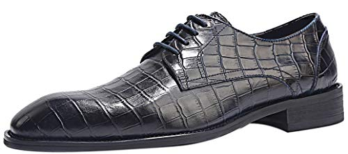 Handcrafted Leather Oxford Dress Shoes - ELANROMAN Oxfords Shoes Mens Dress Luxury Handcrafted Embossed Crocodile Pattern Genuine Leather Formal Shoe or Lace up Brogue Dress Shoes Navy US 11 EUR 44 Foot Length 313.32mm