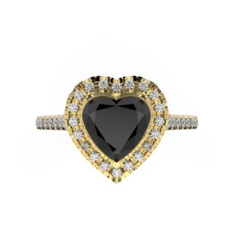 MELIA Bagues Or Blanc 18 carats Diamant Noir 0,8 Cur
