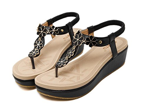 Zapatos Bead DANDANJIE Toe Negro Chanclas caseros Elastic para Sandalias Tangas T de Zapatos Strap Redondo Planos Verano Sandalias de Mujer Clip Playa 8gaFx8