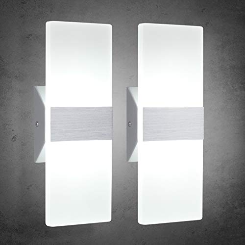 TRLIFE Modern Wall Sconces 12W, Set of 2 LED Wall Sconces 6000K Cool White Wall Sconce Lighting for Hallway Bedroom Bathroom Porch Living Room Basement Stairway Hotel(12W) (Bathroom Sconce Wall)