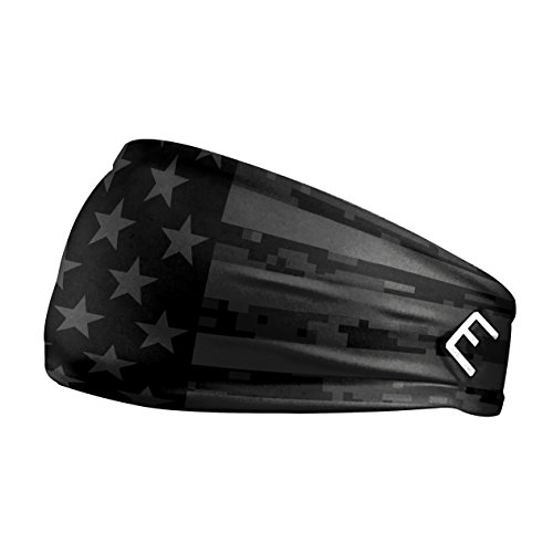 Unisex Headband / Sweatband. Best for Sports, Fitness, Working Out, Yoga. Tapered Design. (SHADOW USA FLAG 2.0)