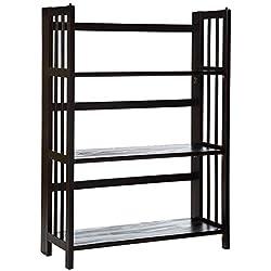 "Casual Home 3-Shelf Folding Stackable Bookcase (27.5"" Wide)-Espresso"