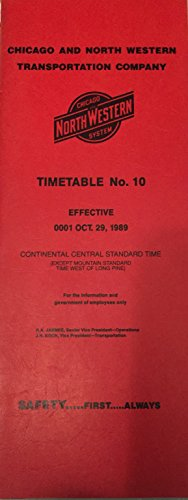 Chicago and North Western Transportation Timetable No. 10 Effective October 29 1989