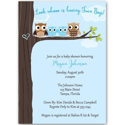 Amazon owl baby shower invitations twins boy blue family owl baby shower invitations twins boy blue family co ed filmwisefo