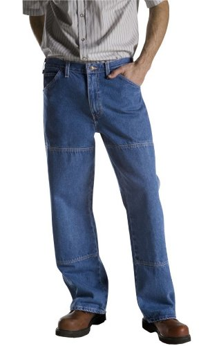 Dickies Men's Relaxed Fit Double Knee Work Horse Jean, Stone Washed Indigo Blue, 40x34
