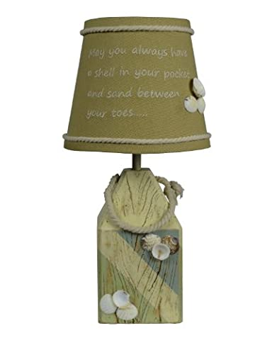 AHS Lighting L2137BL-UP1 Shell Buoy Accent Lamp, Beige, Green, Blue (Lamps For Bedrooms Beach)