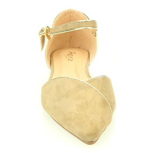 Mujer Señoras noche Casual cómodo Ballerinas De Bombas Zapatillas de Baloncesto Sandalia Zapatos Tamaño (Negro, Beige) Beige