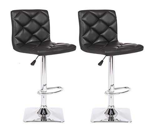 (US Pride Furniture Rio Adjustable Swivel Bar Stool, Black)