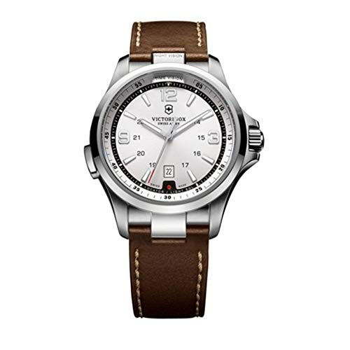 Victorinox Night Vision Silver Dial Leather Strap Men's Watch 241570XG (Certified ()
