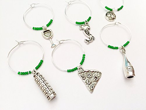 Italy Wine Charms, Gift for Italian and those who love Italy. Includes Pizza, Italy charm, Leaning Tower of Pisa, Soccer. Set of 6 - Feet Italian Charm