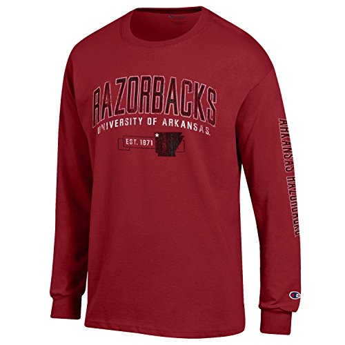 Arkansas Long Sleeve T-shirt - Champion NCAA Arkansas Razorbacks Men's Men's Fair Catch Long sleeve T-Shirt, Large, Cardinal