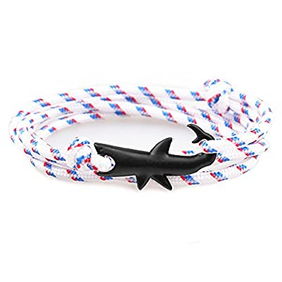 CandyBrowser Happiness Jewelry Nylon Rope Sailing Vikings Wrap Bracelet With Silver Color Nautical Shark Alloy Clasp 30 Inches