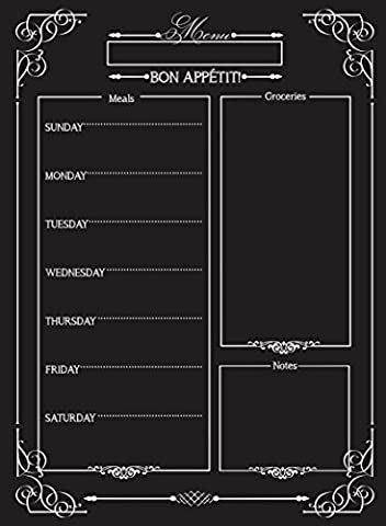 Weekly Menu | Magnetic Chalkboard Style Refrigerator Meal Planner | Grocery Shopping List | Dry Erase Board | Large Calendar | Kitchen Organizer | Smooth Black Surface | Waterproof | 11 x 15 - Hooters Calendar