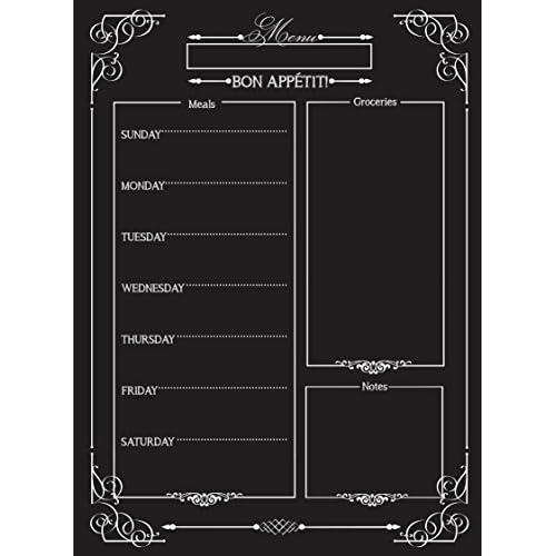 weekly menu magnetic chalkboard style refrigerator meal planner