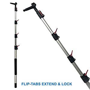 Pole 6 -24 Ft. Multi purpose Extension Pole for Duster, Paint Roller, window cleaning Light Bulb Changer, Hanging Christmas lights, Gutter cleaning, Telescoping Pole, Cleaning tool,Professional Grade