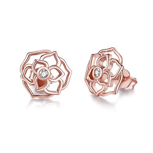 STROLLGIRL 925 Sterling Silver Rose Flowers Earrings - Rose Gold Plated Ear Studs Jewelry for Women Girl