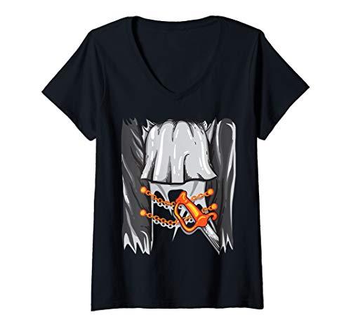 Womens Pirate Costume Halloween Art - Sword Buccaneer Sailer Gift V-Neck T-Shirt -