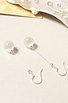 Silver has Pierced Ears Invisible Folder. Pair Opal Earrings Earring Dangler Eardrop Women Girls Long Tassel Without Pierced Pure Antiquity Creative Moonstone Ear Clip