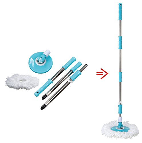 Spin Easy Mop Handle Pole Replacement-Suitable for Press Type Buckets for Floor Mop 360 Bucket with or without Foot Pedal Version by Buyplus (light blue)