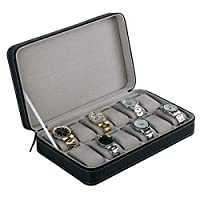 Watch Box,Portable 12 Slots Watch Display Box Storage Organizer with Zipper Classic Style Multi-Functional Bracelet Display Case