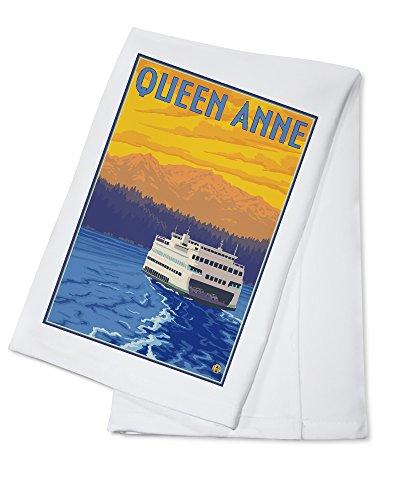 Queen Anne, Washington - Ferry and Mountains (100% Cotton Kitchen Towel)