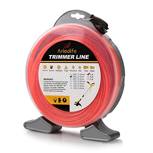 (Anleolife 1-Pound Commercial Square .080-Inch-by-960-ft String Trimmer Line Donut,with Bonus Line Cutter, Orange)