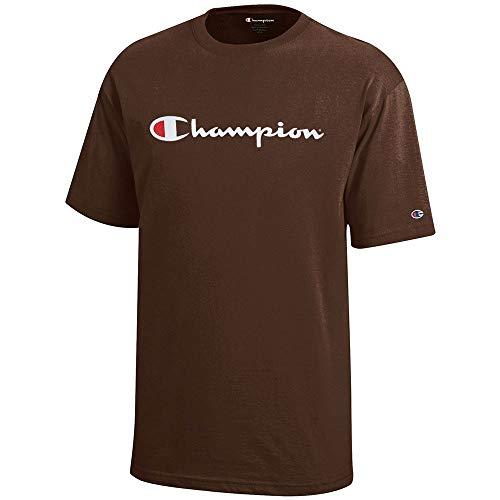 (Champion Script Logo Youth (Brown) Short Sleeve T-Shirt)