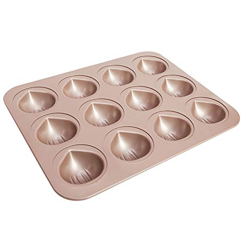 MyLifeUNIT Mini Cupcake Pan, Nonstick Chestnut Madeleine Cake Pan with 12-Cavity by MyLifeUNIT