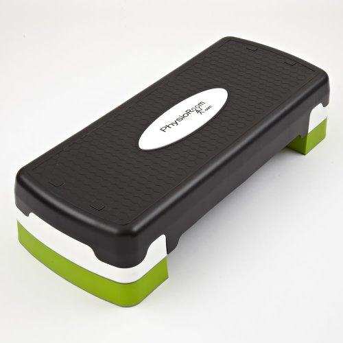 PhysioRoom Steppbrett Stepper 65 cm x 27 cm - Bis 100 kg - Höhenverstellbar - Optimale Sicherheit dank Rutschfester Oberfläche - Ideal für Aerobic & Fitness - Dient der Straffung der Beine & dem Muskelaufbau - Schwarz, Weiß & Grün
