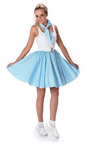 50s Polka Dot Skirt with Neck Scarf - Halloween Costume for Women, Blue, Medium for $<!--$17.99-->