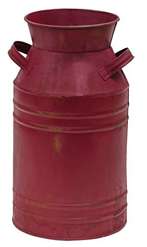 Metal Milk Can - 11'' Burgundy Finish - Country Rustic Jug Vase Home Decor