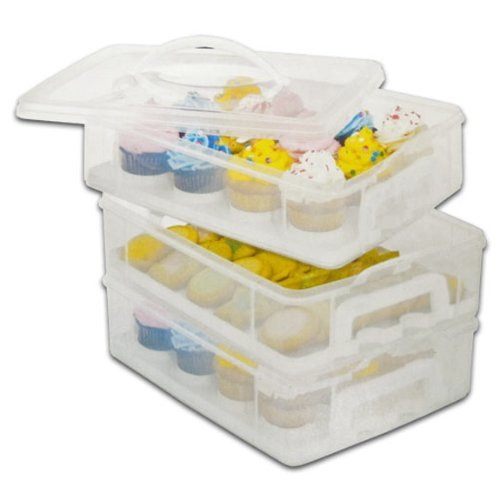 Snapware Snap 'N Stack Cookie and Cupcake Carrier - 3 Layers Holds 36 Cupcakes