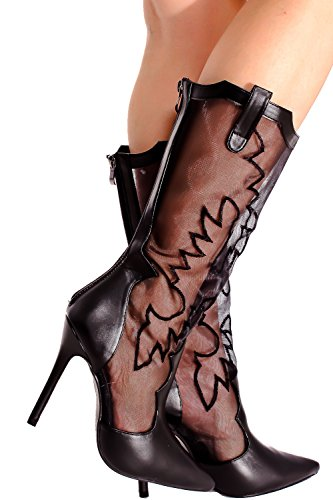 LOLLI COUTURE PU MATERIAL POINTED TOE SHEER MESH TRANSPARENT DESIGN FLORAL PRINT EMBEDDED SINGLE SOLE POINTED TOE LACE HIGH HEEL BOOT 65 (Mesh Floral Design)