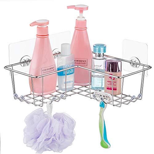 SANNO Adhesive Corner Shower Caddy, Bath Shelf Storage Shampoo Conditioner Bathroom Kitchen Storage Organizer for Kitchen & Bathroom Accessories - Rustproof Stainless Steel ()