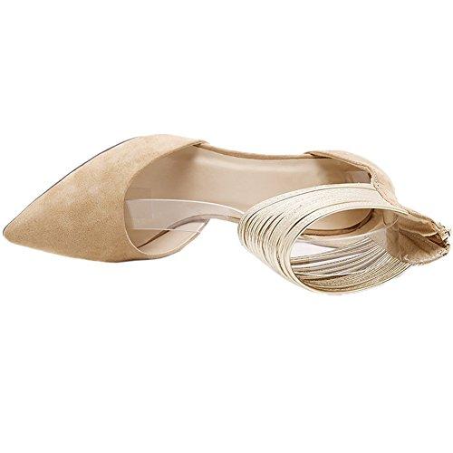 HooH Mujer Sandalias Stiletto De punta estrecha D'orsay Sexy Metal Correa de tobillo Gladiator Zapatos de tacón Beige