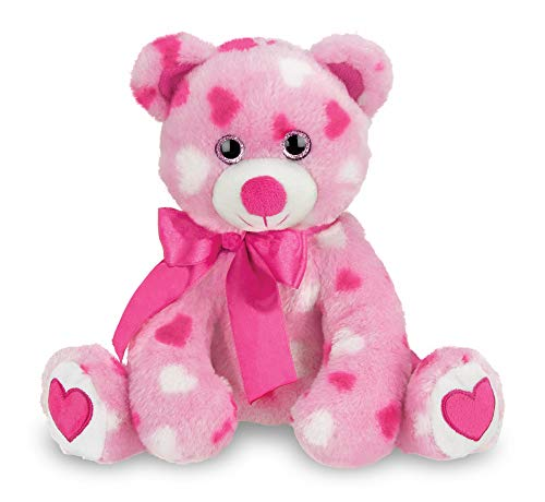 Bearington Sweetheart Pink Plush Stuffed Animal Teddy Bear with Hearts, 8.5 inches ()