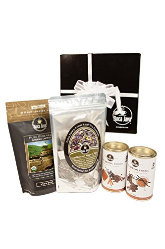 Boca Java Roast to Order Coffee, Coffee, Tea & Cocoa Sampler Gift Set - with Whole Bean Coffee