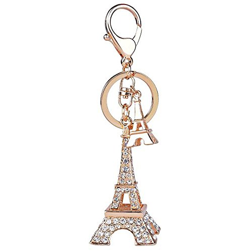 3D Handmade Bling Crystal Cute Keychain Rhinestone Keyring for Purse Bag Charm Car Key(Eiffel Tower)