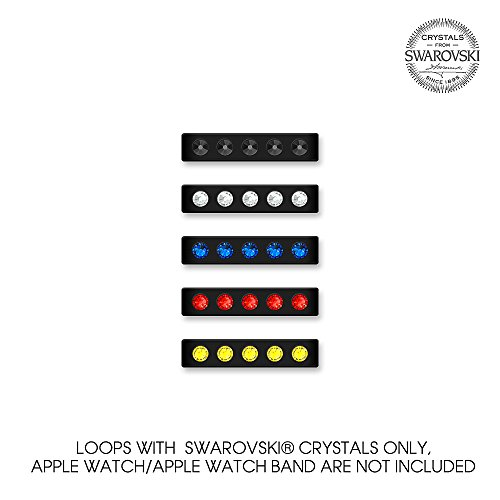 Add SPARKLES to your Apple Watch 38mm! Bling My Thing Superhero Mix, Black, Loop Set with Swarovski crystals, Easily Slide them On and Off the watch band, Suitable for Series 1 and (Thing Superhero)